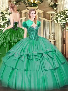 Turquoise Sleeveless Beading and Ruffled Layers Floor Length 15 Quinceanera Dress