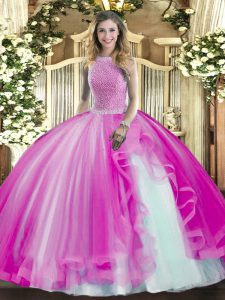 Fuchsia High-neck Lace Up Beading and Ruffles Quinceanera Dress Sleeveless
