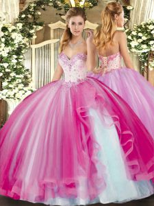 Stunning Floor Length Fuchsia Quince Ball Gowns Tulle Sleeveless Beading and Ruffles
