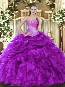 Eggplant Purple Ball Gowns Beading and Ruffles and Pick Ups Ball Gown Prom Dress Lace Up Organza Sleeveless Floor Length