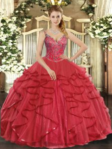 Adorable Wine Red Tulle Lace Up Quinceanera Gown Sleeveless Floor Length Beading and Ruffles