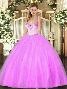 Fitting Sleeveless Floor Length Beading Lace Up Vestidos de Quinceanera with Lilac
