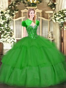 Sophisticated Floor Length Green 15th Birthday Dress Tulle Sleeveless Beading and Ruffled Layers