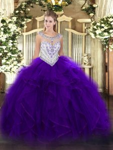 Sumptuous Floor Length Purple Quinceanera Dress Scoop Sleeveless Zipper