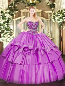 Popular Lilac Organza and Taffeta Lace Up Quinceanera Gowns Sleeveless Floor Length Beading and Ruffled Layers