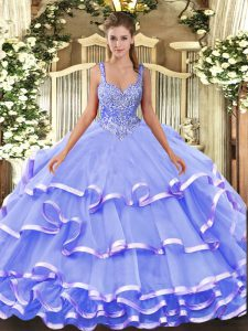 Lavender Ball Gowns Beading and Ruffled Layers Sweet 16 Quinceanera Dress Lace Up Organza Sleeveless Floor Length