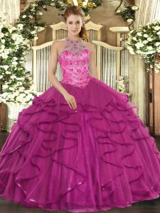 Amazing Floor Length Lace Up Vestidos de Quinceanera Fuchsia for Military Ball and Sweet 16 and Quinceanera with Beading and Ruffles