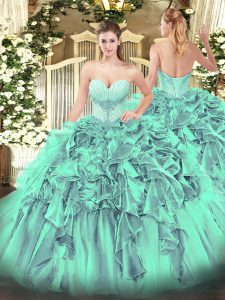 Customized Turquoise Lace Up Sweetheart Beading and Ruffles Quinceanera Gowns Organza Sleeveless