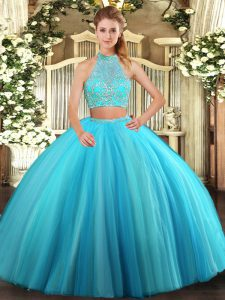 Fantastic Aqua Blue Halter Top Criss Cross Beading Sweet 16 Quinceanera Dress Sleeveless