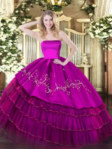 Decent Fuchsia Ball Gowns Strapless Sleeveless Organza and Taffeta Floor Length Zipper Embroidery and Ruffled Layers 15 Quinceanera Dress