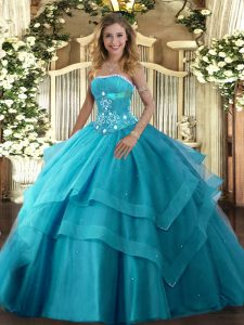 Fashion Beading and Ruffled Layers Quinceanera Gown Teal Lace Up Sleeveless Floor Length