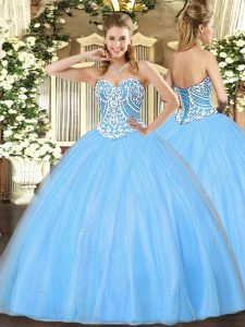 Beading Sweet 16 Dress Aqua Blue Lace Up Sleeveless Floor Length