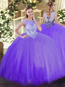 Scoop Sleeveless 15 Quinceanera Dress Floor Length Beading Lavender Tulle
