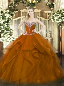 Adorable Brown Ball Gowns Beading and Ruffles Vestidos de Quinceanera Lace Up Tulle Sleeveless Floor Length