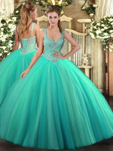 Sleeveless Tulle Floor Length Lace Up Vestidos de Quinceanera in Turquoise with Beading