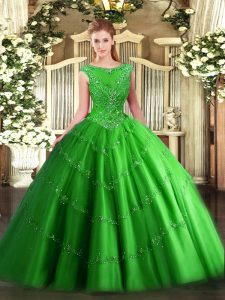 Comfortable Sleeveless Tulle Floor Length Zipper Sweet 16 Dress in Green with Beading and Appliques