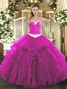 Sleeveless Organza Floor Length Lace Up Sweet 16 Dresses in Fuchsia with Appliques and Ruffles