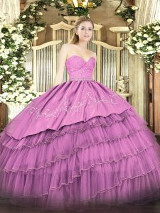 Floor Length Zipper Sweet 16 Dresses Fuchsia for Military Ball and Sweet 16 and Quinceanera with Beading and Lace and Embroidery and Ruffled Layers