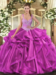 Deluxe Fuchsia Ball Gowns Straps Sleeveless Organza Floor Length Lace Up Beading and Ruffles Quinceanera Gowns