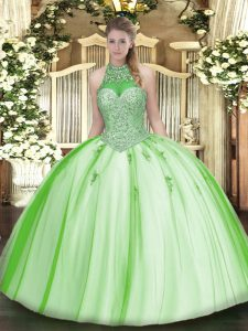 Floor Length Lace Up Quinceanera Dresses for Military Ball and Sweet 16 and Quinceanera with Beading and Appliques