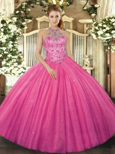 Hot Pink Lace Up Halter Top Beading and Embroidery 15 Quinceanera Dress Tulle Sleeveless