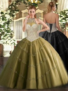 Brown Ball Gowns Tulle Halter Top Sleeveless Beading and Appliques Floor Length Lace Up 15th Birthday Dress