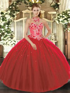 Suitable Sleeveless Lace Up Floor Length Embroidery Sweet 16 Quinceanera Dress