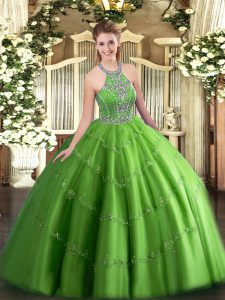Discount Quinceanera Dresses Military Ball and Sweet 16 and Quinceanera with Beading and Appliques Halter Top Sleeveless Lace Up