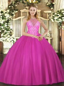 Fantastic Floor Length Fuchsia Quinceanera Dress Tulle Sleeveless Beading
