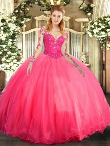 Attractive Lace Sweet 16 Dress Coral Red Lace Up Long Sleeves Floor Length