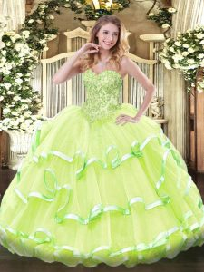 Sweetheart Sleeveless Lace Up Sweet 16 Dress Yellow Green Organza