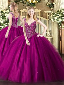Smart Fuchsia Lace Up Ball Gown Prom Dress Beading Sleeveless Floor Length