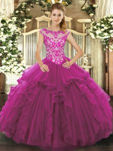 New Style Sleeveless Organza Floor Length Lace Up Vestidos de Quinceanera in Fuchsia with Beading and Ruffles