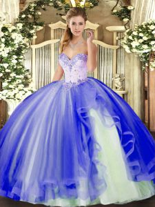 Sweetheart Sleeveless Quinceanera Gown Floor Length Beading and Ruffles Blue Tulle