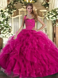 Hot Selling Fuchsia Tulle Lace Up Quince Ball Gowns Sleeveless Floor Length Ruffles