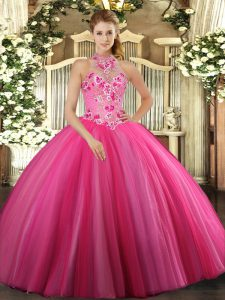 Great Hot Pink Ball Gowns Tulle Halter Top Sleeveless Embroidery Floor Length Lace Up Quinceanera Dress