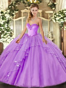 Custom Made Tulle Sweetheart Sleeveless Lace Up Beading and Ruffles Quinceanera Gowns in Lavender