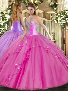 Floor Length Ball Gowns Sleeveless Fuchsia Quinceanera Gowns Lace Up