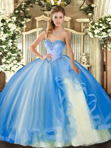 Floor Length Baby Blue Quinceanera Dresses Tulle Sleeveless Beading and Ruffles
