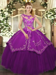 Exceptional Eggplant Purple Cap Sleeves Floor Length Embroidery Lace Up Ball Gown Prom Dress