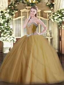 Champagne Ball Gowns Tulle Sweetheart Sleeveless Beading Lace Up Ball Gown Prom Dress Brush Train