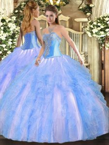 Floor Length Ball Gowns Sleeveless Aqua Blue 15th Birthday Dress Lace Up