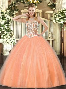 Peach Sleeveless Tulle Lace Up Quinceanera Gowns for Military Ball and Sweet 16 and Quinceanera