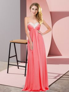 Sleeveless Chiffon Floor Length Lace Up Prom Evening Gown in Watermelon Red with Ruching
