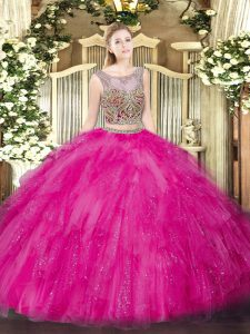 Fitting Hot Pink Sleeveless Beading and Ruffles Floor Length Sweet 16 Quinceanera Dress