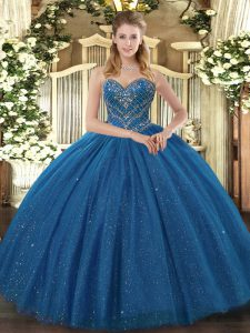 Suitable Teal Sweet 16 Dresses Military Ball and Sweet 16 and Quinceanera with Beading Sweetheart Sleeveless Lace Up