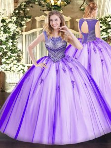 Scoop Sleeveless Tulle Quinceanera Gowns Beading Lace Up