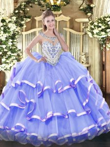 Fancy Ball Gowns Quinceanera Gowns Lavender Scoop Organza Sleeveless Floor Length Zipper