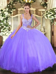 Sleeveless Tulle Floor Length Lace Up Quinceanera Gown in Lavender with Beading