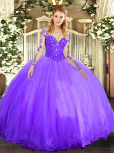 Long Sleeves Tulle Floor Length Lace Up Sweet 16 Dress in Lavender with Lace